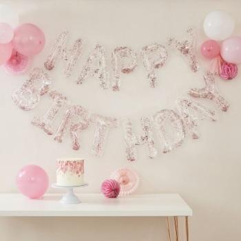 Rose Gold Confetti Happy Birthday - Balloon Bunting