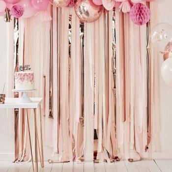 Rose Gold & Pink Streamer - backdrop
