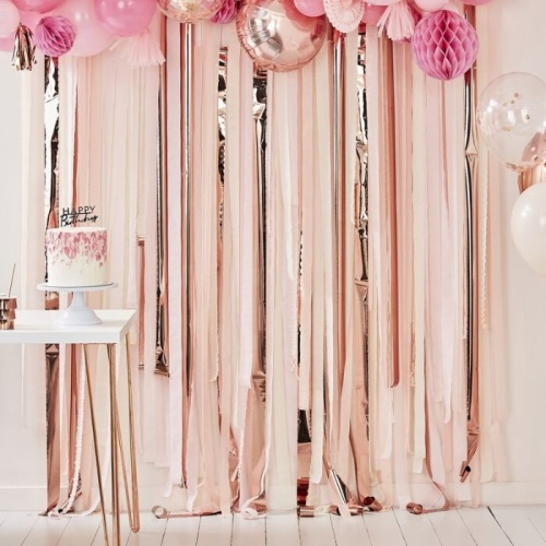 rose gold and pink streamer backdrop, streamer backdrop, pink and rose gold
