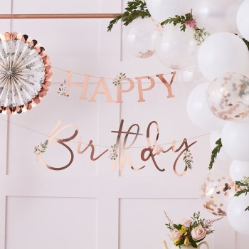 Rose Gold Floral Happy Birthday - Bunting