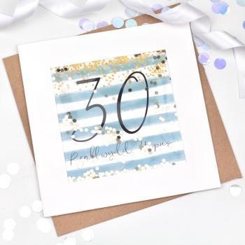 Blue & Gold Stripe - Penblwydd Hapus - 30 - Confetti Card