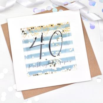 Blue & Gold Stripe - Penblwydd Hapus - 40 - Confetti Card