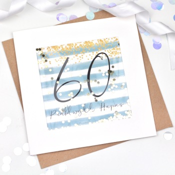 Blue & Gold Stripe - Penblwydd Hapus - 60 - Confetti Card