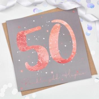 Rose Gold Starry - Penblwydd Hapus - 50 - Card