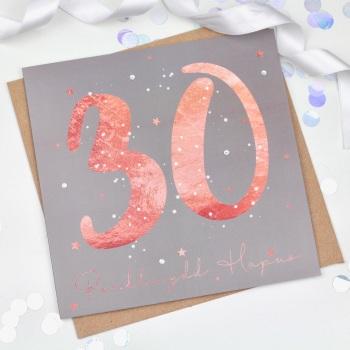 Rose Gold Starry - Penblwydd Hapus - 30 - Card