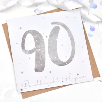 Silver Starry - Penblwydd Hapus - 90 - Card