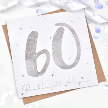 Silver Starry - Penblwydd Hapus - 60 - Card