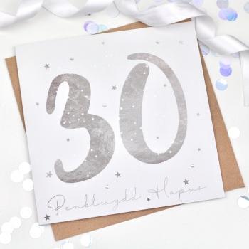 Silver Starry - Penblwydd Hapus - 30 - Card