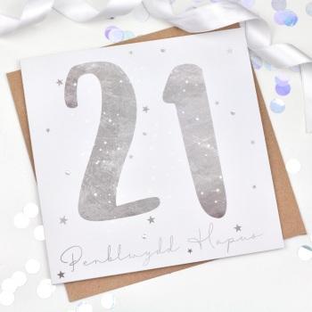 Silver Starry - Penblwydd Hapus - 21 - Card