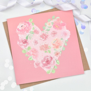 Floral Heart - Plain  - Card