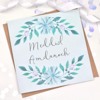 Blue Floral - Meddwl Amdanoch  - Card