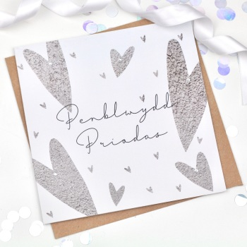 Hearts - Penblwydd Priodas  - Card