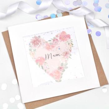 Floral Heart  - Mam - Confetti Card