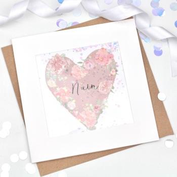 Floral Heart  - Nain - Confetti Card