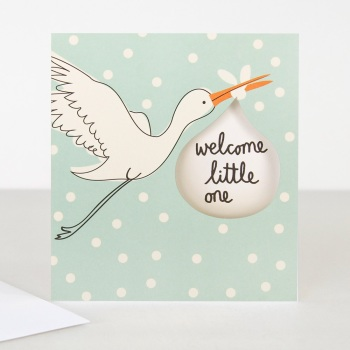 Blue Welcome Little One - Card