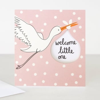 Pink Welcome Little One - Card