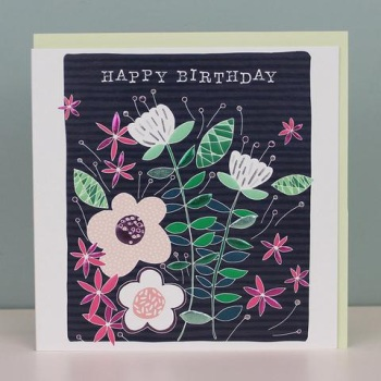Happy Birthday Floral Navy - Card