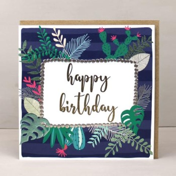 Navy Tropical Happy Birthday - Card
