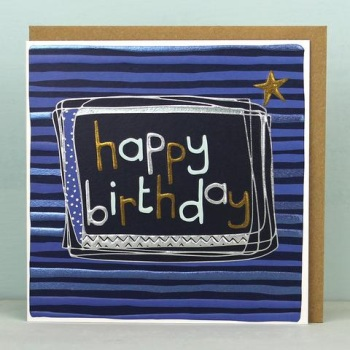 Stripy Happy Birthday - Card