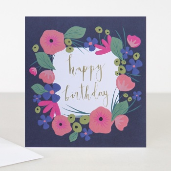 Happy Birthday Navy Floral - Card