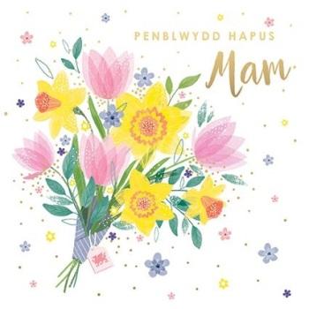 Flower Bouquet - Penblwydd Hapus Mam  - Card