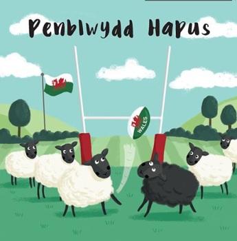 Penblwydd Hapus Rugby Sheep  - Card