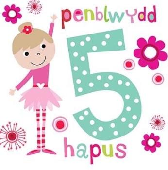 Penblwydd Hapus - 5 Geneth - Card