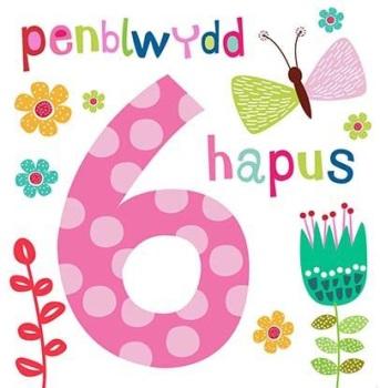 Penblwydd Hapus - 6 Geneth - Card