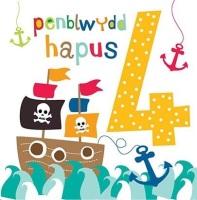 Penblwydd Hapus - 4 Bachgen - Card