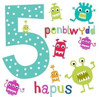 Penblwydd Hapus - 5 Bachgen - Card