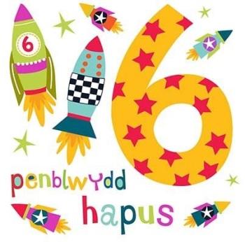 Penblwydd Hapus - 6 Bachgen - Card