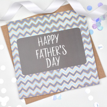 Blue & Gold Chevron - Happy Father's Day  - Card