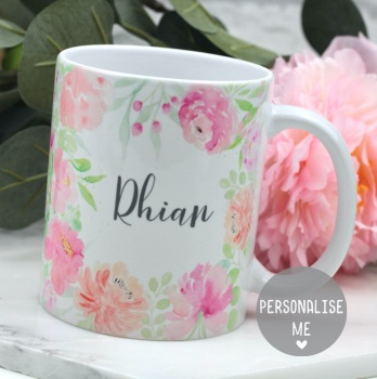 Personalised - Floral Watercolour  - Mug