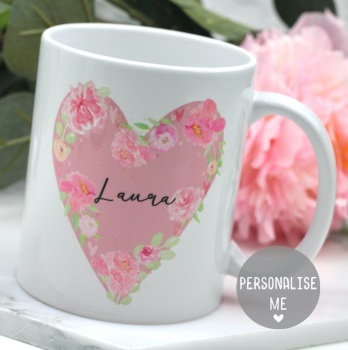 Personalised - Floral Watercolour Heart  - Mug