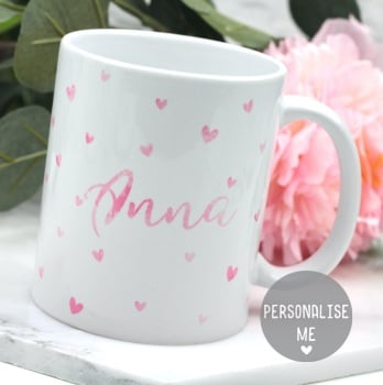 Personalised - Dotty Hearts  - Mug