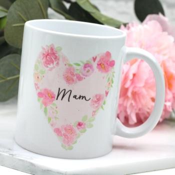 Floral Watercolour Heart - Mam - Mug