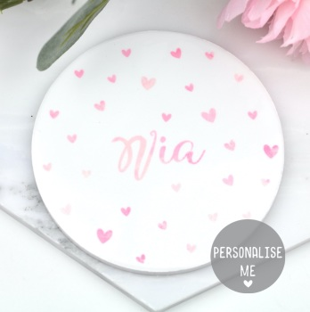 Personalised - Dotty Hearts - Coaster