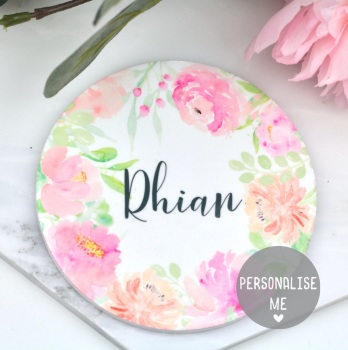 Personalised - Floral Watercolour - Coaster