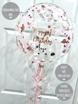 Confetti Bubble Balloon - Rose Gold & Pink - Curly Ribbon Tail