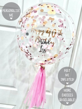 Confetti Bubble Balloon - Coral Crush