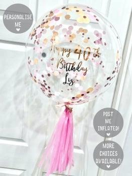 Confetti Bubble Balloon - Coral Crush
