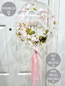 Confetti Bubble Balloon - Gold & Pink
