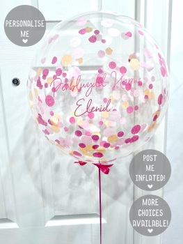 Confetti Bubble Balloon - Flamingo Pink