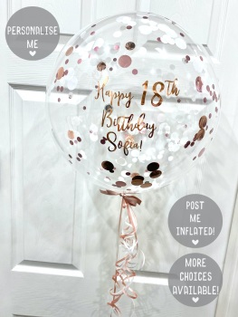 Confetti Bubble Balloon - Rose Gold & White