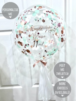 Confetti Bubble Balloon - Rose Gold, Mint & White
