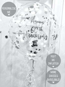 Confetti Bubble Balloon - Silver & White