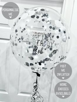 Confetti Bubble Balloon - Black, Silver & White