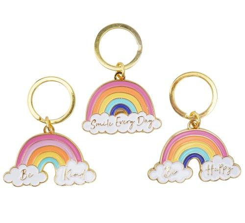 Rainbow keyring, be happy keyring, be kind keyring, smile everyday keyring