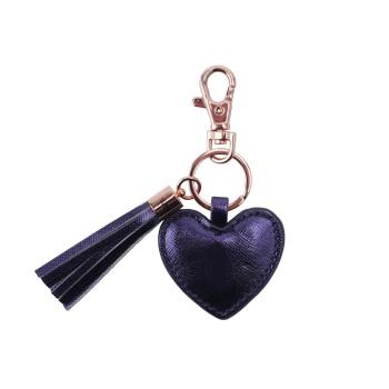 Heart Tassel Keyring - Navy