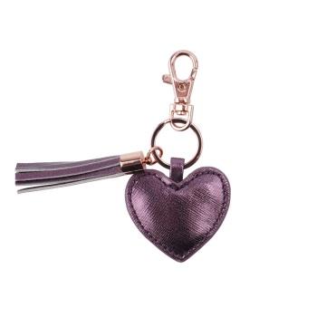 Heart Tassel Keyring - Plum